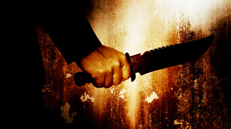 serial: Horror scene of man with knife,Serial killer or violence concept background