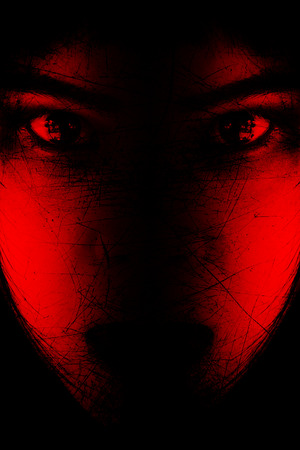 Red is scary,Portrait of scary girl staring at cameras,Background for halloween concept and movie poster project Stok Fotoğraf - 53744906