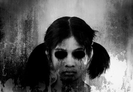 exorcist: Ghost girl,Horror background for halloween concept and book cover ideas