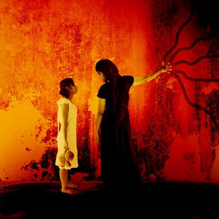 revenge: La venganza del, fondo oscuro del horror por concepto de libros y de las ideas de la cubierta de Halloween Foto de archivo
