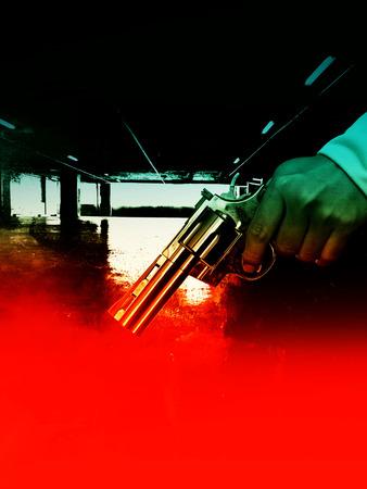 venganza: Asesino con el arma en fondo de la escena cambiante