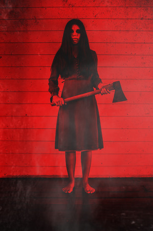 hatchet: Girl with hatchet,Scary background for halloween concept and book cover ideas