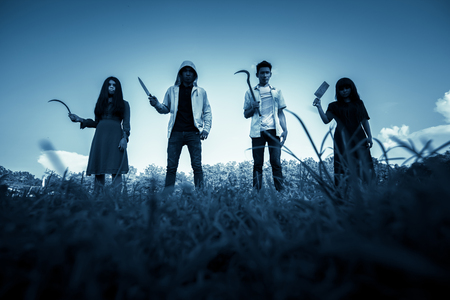 prank: Group of stranger people with weapon to prank on halloween,Scary background for book cover