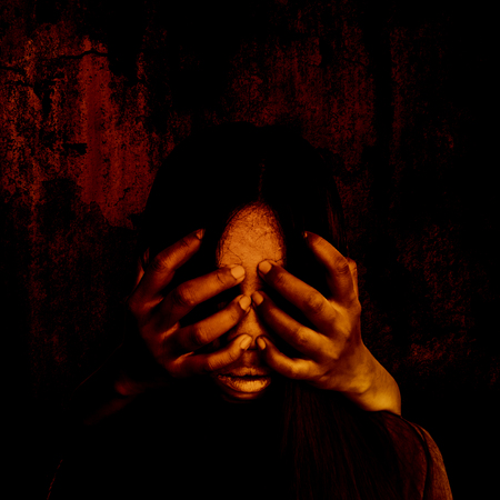 close your eyes: Close your eyes,Horror background for halloween concept and book cover ideas