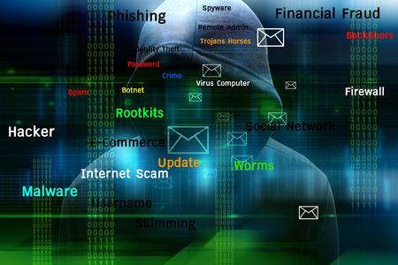 コンピューター ハッカーやサイバー攻撃の概念の背景 写真素材