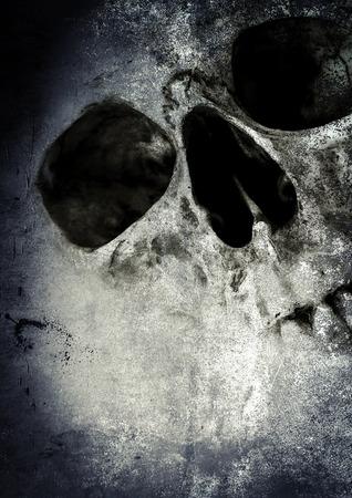 ホラー頭蓋骨、ハロウィーンの概念と映画ポスター プロジェクトの怖い背景 写真素材