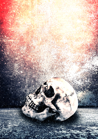 Horror Skull,Scary Background For Halloween Concept And Movie Poster Project