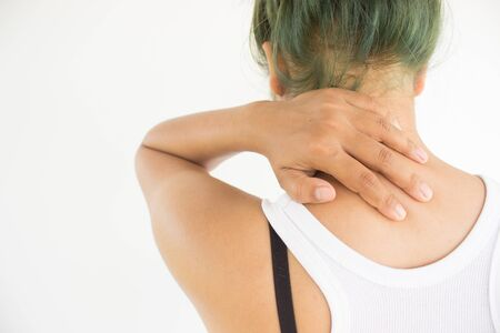 Woman suffering from shoulder pain,Woman healthcare concept and ideas