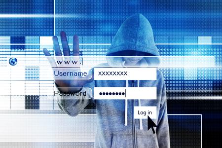 intruder: Computer hacker or Cyber attack concept background