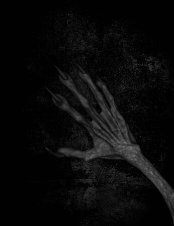 undead: 3d illustration of Hand of evil on grunge background