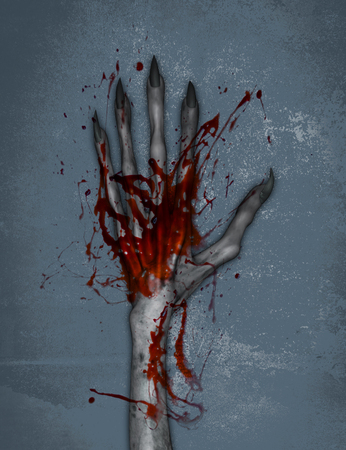 3d illustration of Hand of evil with blood Stock Photo