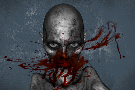3d illustration of Zombie face fully with blood