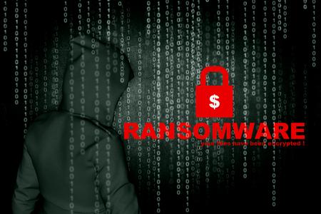 Ransomware, Cyber beveiligingsconcept, 3d illustratie Stockfoto