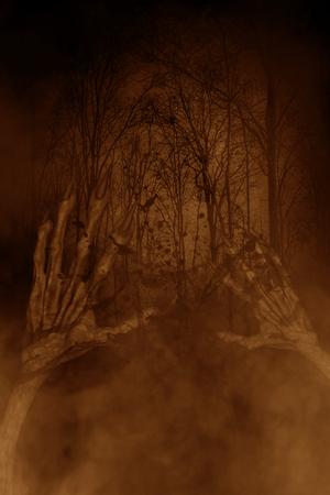 붙어 따라 다녀 진된 숲, 3d 그림에서에서 악마의 손, 공포 개념 배경