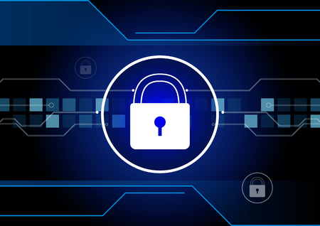 Cyber security concept,Network security with padlock on screen Illustration