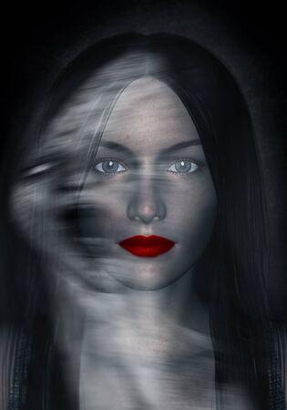 3d illustration of woman in beauty and the dark side Reklamní fotografie