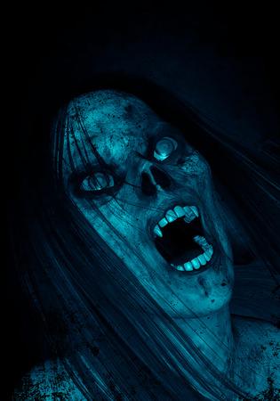 暗闇の中で恐ろしい幽霊女の 3 d イラストレーション