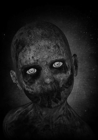 massacre: 3d illustration of scary zombie boy Stock Photo