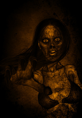 massacre: 3d illustration of scary ghost woman in the dark