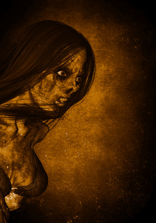 3d illustration of scary ghost woman in the dark