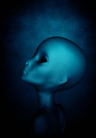 ufology: Alien,3D illustration concept background