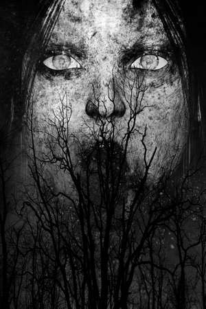 terrified woman: 3d illustration of close up scary ghost woman in the woods Stock Photo