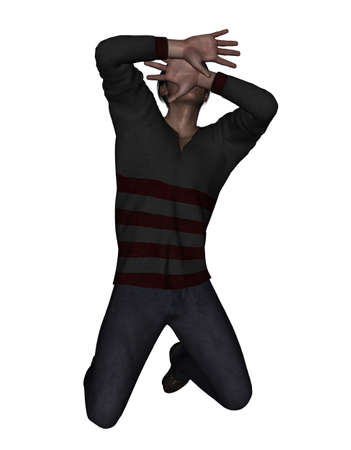 attacked: 3d rendering of a man using his hand to hide his face from something scary,or protecting from being attacked Stock Photo