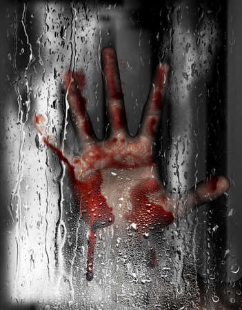condensation: Steam room apocalypse,3d illustration of person hand against wet glass with condensation effect,Horror background,mixed media