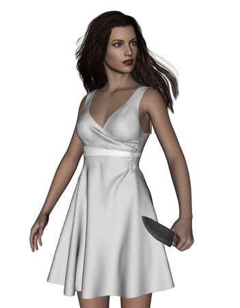 murder scene: Its time for revenge,3d illustration of Woman with knife,Concept and ideas background for book cover or horror movie poster
