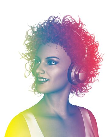 earphone: Life is colorful,3d illustration of woman listening to music