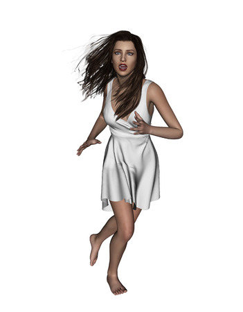 3d illustration of Scared woman running away,Concept and ideas background for book cover or horror movie poster