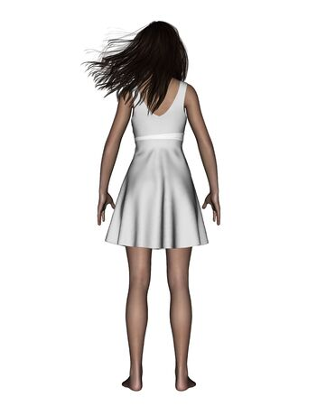 3d illustration of back side of woman standing