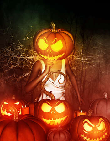 3d illustration of Woman halloween pumpkin head making silence gesture to jack-o-lantern ,Mixed media Stock Photo