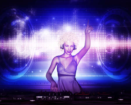 3d illustration of Confident dj girl at nightclub party,Mixed media Stock Photo