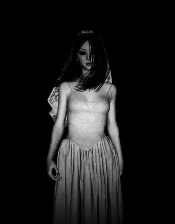 3d illustration of Ghost bride in the dark Stock Photo