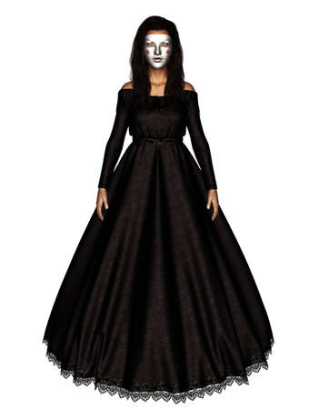 3d illustration of Ghost woman in black dress isolated on white background