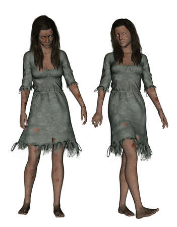 3d illustration,Ghost woman isolated on white background  Stock Photo