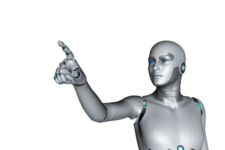 3d render of robot pointing finger isolated on white background