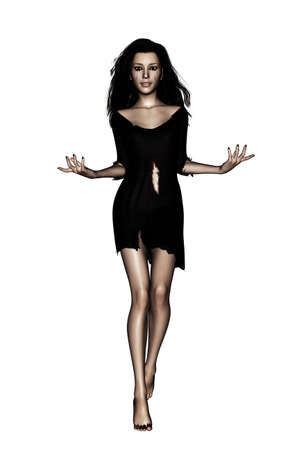 Ghost woman isolated on white background,3d render