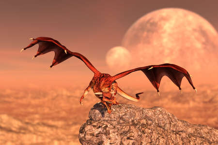 World of Dragon,3d rendering for book cover or book illustration