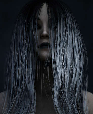 3d illustration of Ghost woman in the dark,Horror background  Stock Photo