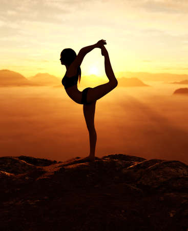 3d rendering of Woman doing yoga and meditates on the mountain