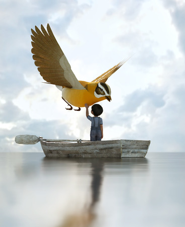 boy standing on an old wooden rowboat in the sea and touching a big bird flying above the sky,3d illustration