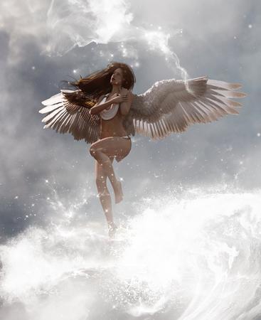 Illustration 3D d'un ange au paradis terrestre, technique mixte pour l'illustration du livre ou la couverture du livre