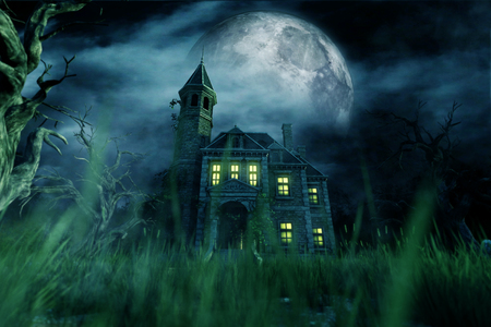 Haunted house,3d illustration Stock Photo