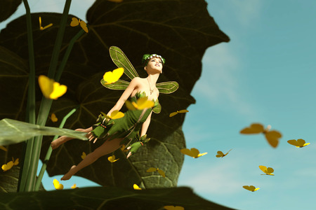 3d rendering of a happy fairy flying out from a big green leaf and surrounded by flock butterflies