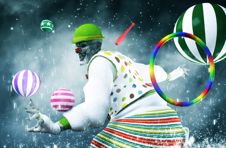 3d illustration of scary clown,mixed media Stock Photo