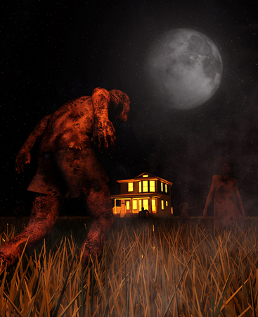 Zombies heading to a haunted house,3d illustration