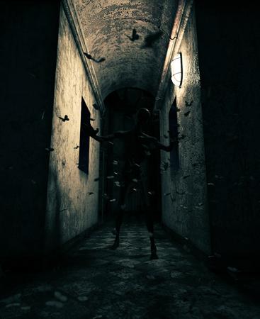 rendu 3D d'un monstre dans une maison hantée