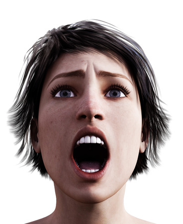 3d rendering of a woman screaming Stock Photo